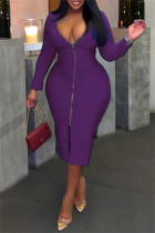 Purple Fashion Casual Solid Zipper V Neck Long Sleeve Plus Size Dresses