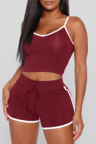 Burgundy Sexy Sportswear Solid Vests Spaghetti Strap Sleeveless Two Pieces