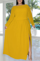 Yellow Fashion Casual Solid Slit O Neck Plus Size Two Pieces