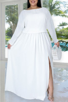 White Fashion Casual Solid Slit O Neck Plus Size Two Pieces