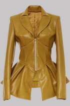 Yellow Fashion Casual Solid Split Joint Turndown Collar Outerwear