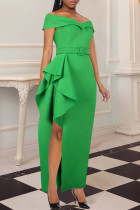 Green Fashion Sexy Solid Slit With Belt Off the Shoulder Evening Dress