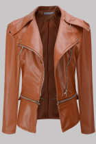 Coffee Fashion Casual Solid Split Joint Zipper Turndown Collar Outerwear