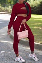 Burgundy Sexy Solid Hollowed Out Split Joint Asymmetrical O Neck Long Sleeve Three Pieces