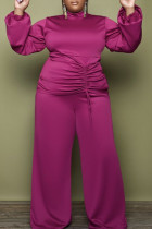 Rose Red Fashion Casual Solid Draw String Turtleneck Plus Size Two Pieces