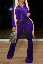 Purple Casual Solid Split Joint Zipper Collar Long Sleeve Two Pieces