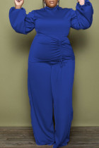 Blue Fashion Casual Solid Draw String Turtleneck Plus Size Two Pieces
