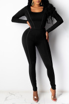Black Casual Sportswear Solid Split Joint U Neck Long Sleeve Two Pieces