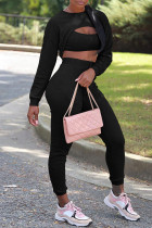 Black Sexy Solid Hollowed Out Split Joint Asymmetrical O Neck Long Sleeve Three Pieces