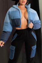 Blue Casual Striped Print Split Joint Zipper Outerwear