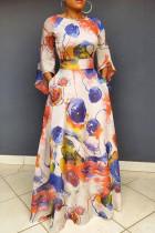 Orange Casual Elegant Print Split Joint O Neck A Line Dresses