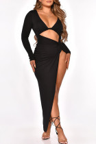 Black Fashion Sexy Solid Hollowed Out Slit V Neck Long Sleeve Dresses