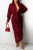 Burgundy Casual Solid Split Joint Buckle Fold With Belt Turndown Collar Dresses