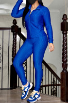 Blue Casual Sportswear Solid Basic Zipper Collar Long Sleeve Two Pieces