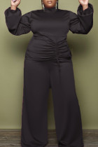 Black Fashion Casual Solid Draw String Turtleneck Plus Size Two Pieces