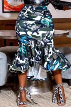 Camouflage Fashion Casual Print Flounce Regular High Waist Skirt