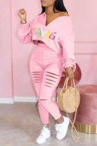 Pink Fashion Casual Letter Print Ripped Zipper Collar Long Sleeve Two Pieces