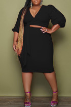 Black Fashion Casual Solid Bandage V Neck Plus Size Two Pieces