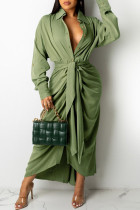 Green Casual Solid Split Joint Buckle Fold With Belt Turndown Collar Dresses