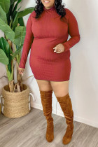 Red Casual Solid Split Joint Turtleneck One Step Skirt Plus Size Dresses