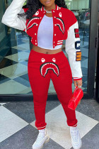 Red Fashion Casual Print Cardigan Pants Long Sleeve Two Pieces