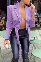 Purple Fashion Casual Solid Split Joint Cardigan Turndown Collar Outerwear