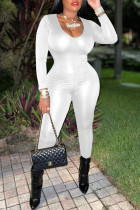 White Fashion Casual Solid Draw String Backless V Neck Skinny Jumpsuits