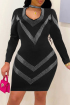 Black Fashion Sexy Bronzing Hollowed Out V Neck Long Sleeve Dresses