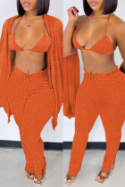 Orange Fashion Casual Solid Cardigan Vests Pants Long Sleeve Three-piece Set