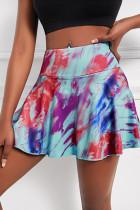 Purple Casual Sportswear Print Tie-dye High Waist Skirt