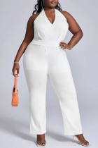 White Fashion Casual Solid Bandage Backless Halter Plus Size Jumpsuits