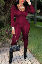 Burgundy Fashion Casual Solid Draw String Backless V Neck Skinny Jumpsuits