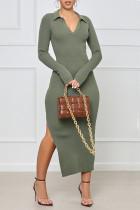 Army Green Sexy Solid Split Joint Frenulum Backless Slit V Neck One Step Skirt Dresses