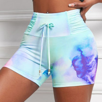 Colour Casual Sportswear Print Tie-dye High Waist Shorts