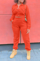 Tangerine Red Casual Solid Split Joint Pocket Buckle Turndown Collar Long Sleeve Two Pieces