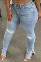 Light Blue Solid Ripped Slit High Waist Regular Denim Jeans