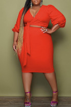 Red Fashion Casual Solid Bandage V Neck Plus Size Two Pieces