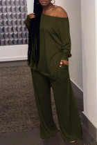 Army Green Casual Solid Split Joint Slit Off the Shoulder Plus Size Two Pieces
