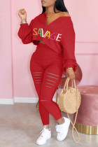 Red Fashion Casual Letter Print Ripped Zipper Collar Long Sleeve Two Pieces