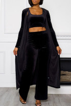 Black Fashion Casual Solid Cardigan Vests Pants U Neck Long Sleeve Three-piece Set
