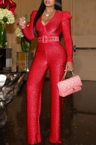 Red Fashion Casual Solid With Belt V Neck Regular Jumpsuits