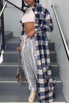 Multicolor Fashion Casual Sweet Plaid Print Cardigan Turndown Collar Outerwear