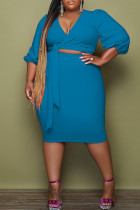 Blue Fashion Casual Solid Bandage V Neck Plus Size Two Pieces