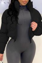 Black Fashion Casual Solid Cardigan Mandarin Collar Outerwear