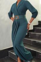 Green Elegant Solid Split Joint Fold With Belt V Neck Long Sleeve Plus Size Dresses