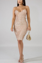Apricot Sexy Spaghetti Strap Backless Sequins Dress