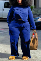 Blue Casual Solid Ripped Split Joint O Neck Plus Size Two Pieces