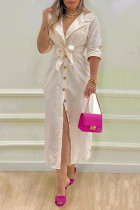 Apricot Casual Elegant Solid Split Joint Buckle With Belt Turn-back Collar Shirt Dress Dresses