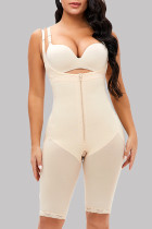 Apricot Fashion Sexy Solid Split Joint See-through Zipper Bustiers