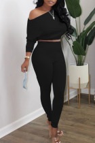 Black Casual Solid Split Joint Oblique Collar Long Sleeve Two Pieces